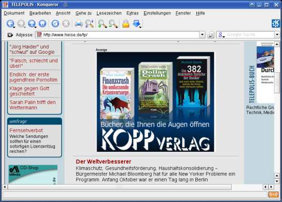 Screenshot Telepolis 2008-10-19