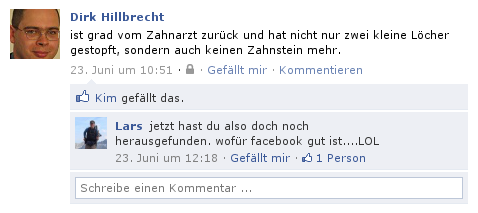 Facebookkonversation, authentisches Beispiel