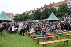 Empfang zum Baustellenfest auf dem Weißekreuzplatz
