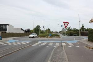 Kreisel an der Kongelundsvej: Nach rechts zweigt die Oliefabriksvej ab