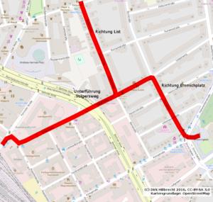 Volgersweg als wichtige Radroute von der Innenstadt in die Oststadt, List und zum Emmichplatz
