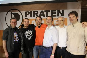 Die Landesliste: Thomas Ganskow, Florian Lang, Holger Lubitz, Henry Ruhnke, Michael Berndt (Spitzenkandidat) und Nils Ellmers