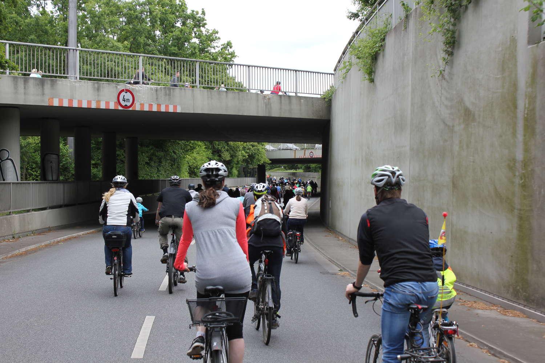 Fahrradsternfahrt am Autofreien Sonntag 2015, Kaisergabel