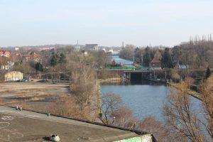Stichkanal Linden und Schleuse zum Lindener Hafen vom Wasserstadtgelände aus gesehen, Hannover, 2014