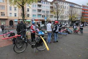 Fahrräder mit Abstandhaltern: