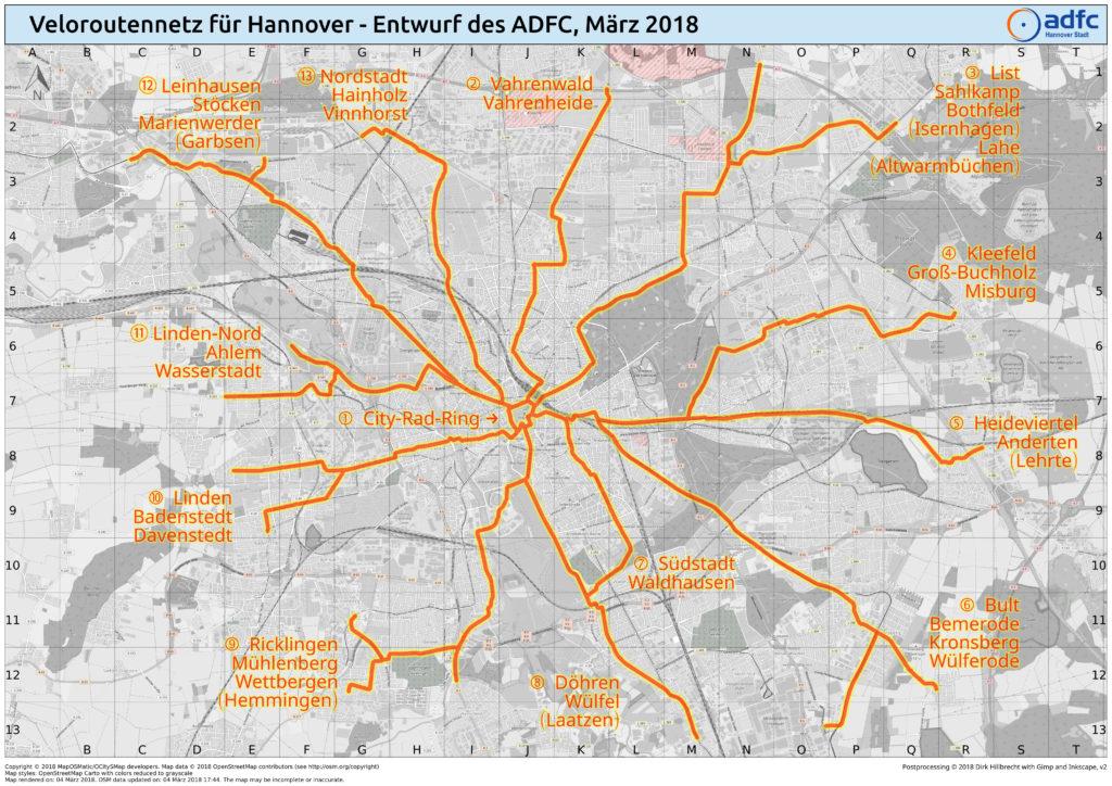 Veloroutennetzentwurf des ADFC Hannover, Stand März 2018. Kartengrundlage: Openstreetmap, Design: MapOSMatic, Visualisierung: Dirk Hillbrecht