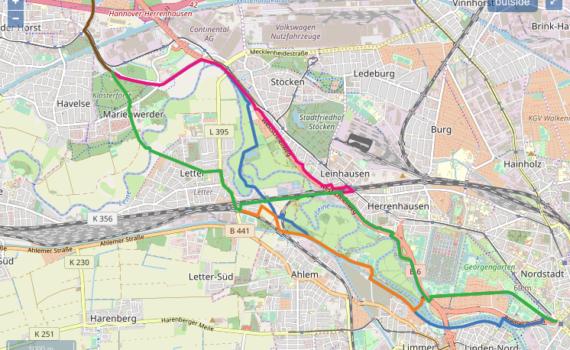 Radschnellweg Hannover - Garbsen, Planungsvarianten. Kartengrundlage: Openstreetmap, Visualisierung: H.C. Edelmann