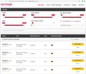 Hetzner Serverbörse - Manchmal gibt es hier echte Schnäppchen