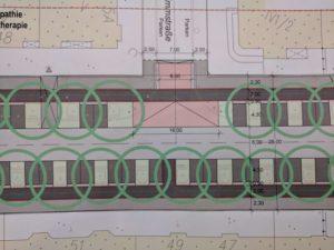 Ausschnitt der Geibelstraßen-Planungen nach Variante A1: Eigenständige Radwege und Parkplätze quer zur Fahrbahn