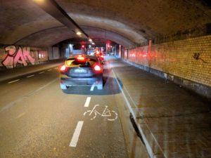 Radverkehr abgedrängt: Fernroder Straße, 2017