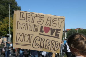 Let's act wich love not greed