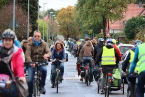 Fahrradstraße Am Grünen Hagen mit Fahrraddemo