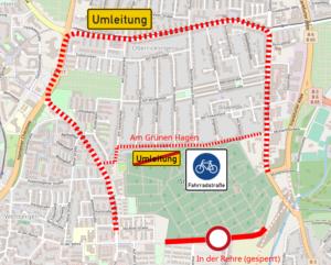 Die Ausgangslage: In der Rehre gesperrt, Umleitung über Hauptverkehrsstraßen. Kartengrundlage: Open Street Map