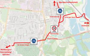 Einbindung von Am Grünen Hagen in das hannoversche Radverkehrsnetz: Zentrale Route für den Südwesten. Kartengrundlage: Open Street Map
