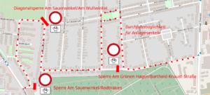 Sperrenkonzept für Oberricklingen: Drei Sperren gegen den Durchgangsverkehr. Kartengrundlage: Open Street Map
