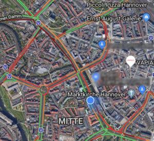 Google Maps um 14 Uhr: Es geht nicht mehr viel auf den Straßen in der Innenstadt