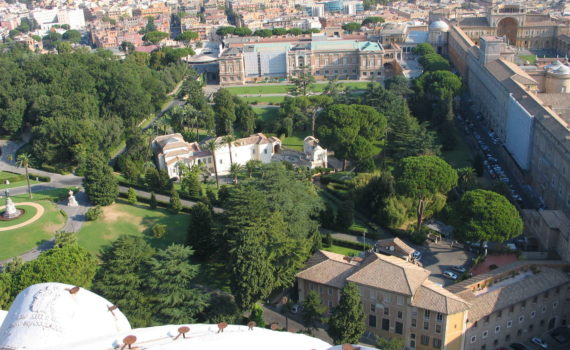 Giardini Vaticani (Gardens of Vatican City) seen from Cupola of San Pietro facing northward, August 2009
