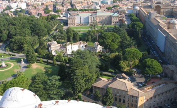 Giardini Vaticani (Gardens of Vatican City) seen from Cupola of San Pietro facing northward, August 2009