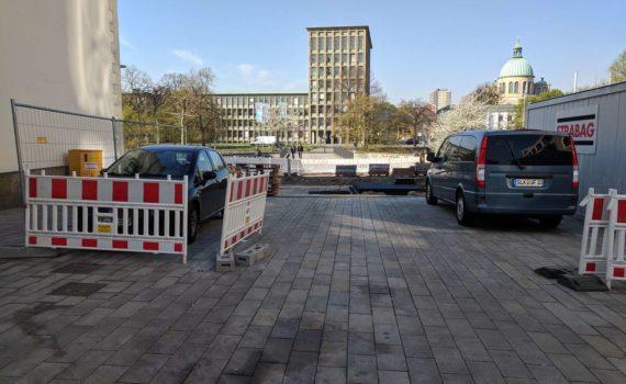 Blick von Am Marstall Richtung Martin-Neuffer-Brücke, April 2019