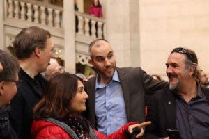 Oberbürgermeister Belit Onay mit den Ratsabgeordneten Daniel Gardemin, Belgin Zaman und Adam Wolf