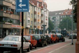 Celler Straße von der Gretchenstraße aus gesehen, Hannover, 1996