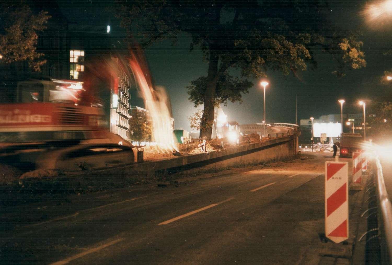 Hochstraßenrampe im Friedrichswall im Abriss, Hannover, Oktober 1998