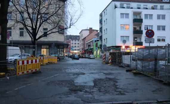 Am Marstall Blick von der Südseite in die Reuterstraße, Hannover, Dezember 2017