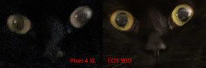 Direkter Vergleich von Pixel-4-XL- und EOS-90D-Foto bei gleichen Bedingungen