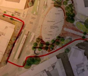 Spontan erdachte Ausweichroute bei gesperrtem Platz - Guter Radverkehr geht anders