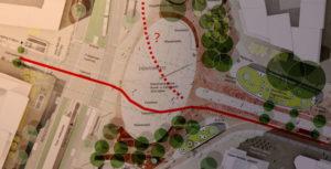 Radverkehrskonzept des Siegerentwurfes: Im Bogen zwischen den Wasserspielen und nach Norden gar nicht