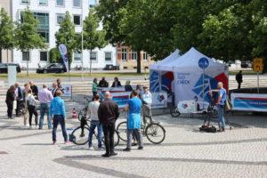 Rad-Check-Station auf dem Trammplatz - Aktion der Stadtverwaltung im Rahmen des diesjährigen